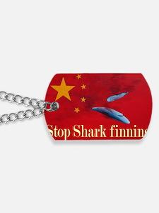 shark finning tee shirt Dog Tags