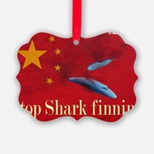 shark finning tee shirt Ornament