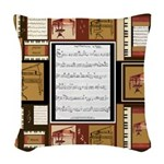 Piano Keys Sheet Music Fat Quarter Woven Throw Pil