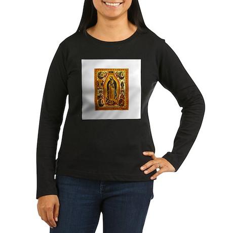 Virgen de Guadalupe Women's Long Sleeve Dark T-Shi