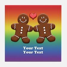 Personalize Gingerbread Men Couple Rainbow Tile Co