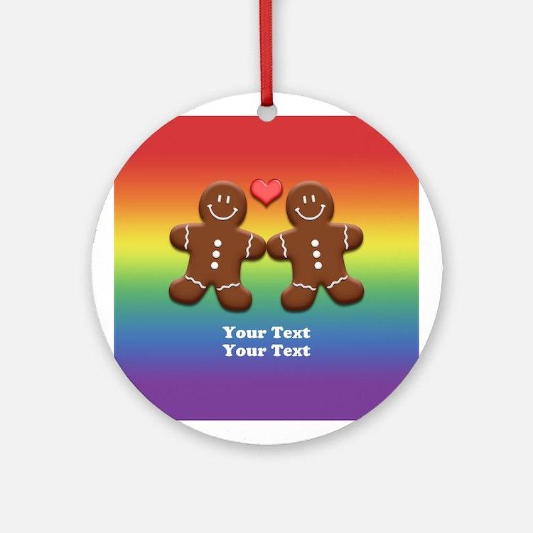 Personalize Gingerbread Men Couple Rainbow Ornamen