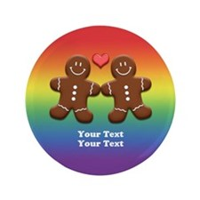 "Personalize Gingerbread Men Couple Rainbow 3.5"" Bu"