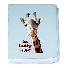 You Looking at Me? giraffe baby blanket