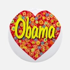 2010_obama_script_transparent Round Ornament