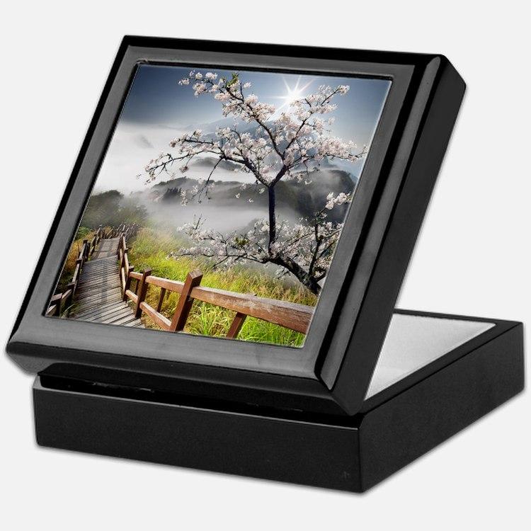 Japanese Cherry Landscape Keepsake Box