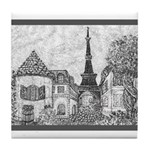 Paris Eiffel Tower pointillism gray 5x7 Tile Coast