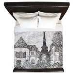 Paris Eiffel Tower pointillism gray 5x7 King Duvet