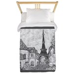 Paris Eiffel Tower pointillism gray 5x7 Twin Duvet