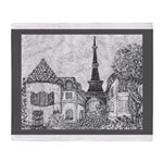 Paris Eiffel Tower pointillism gray 5x7 Throw Blan
