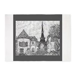 Paris Eiffel Tower pointillism gray 5x7 5'x7'Area
