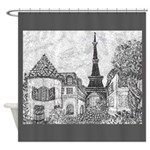 Paris Eiffel Tower pointillism gray 5x7 Shower Cur