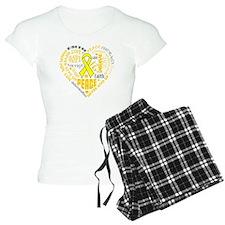 Testicular Cancer Heart Words Pajamas