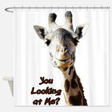 You Looking at Me? giraffe Shower Curtain