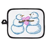 Snow Couple Hearts In Love Potholder