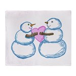 Snow Couple Hearts In Love Throw Blanket