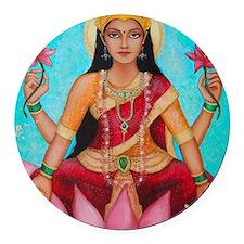 Lakshmi original art Round Car Magnet