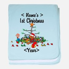 Personalized 1st Christmas baby blanket