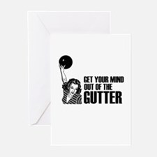 Mind out of the Gutter - Bowler Greeting Cards (Pk