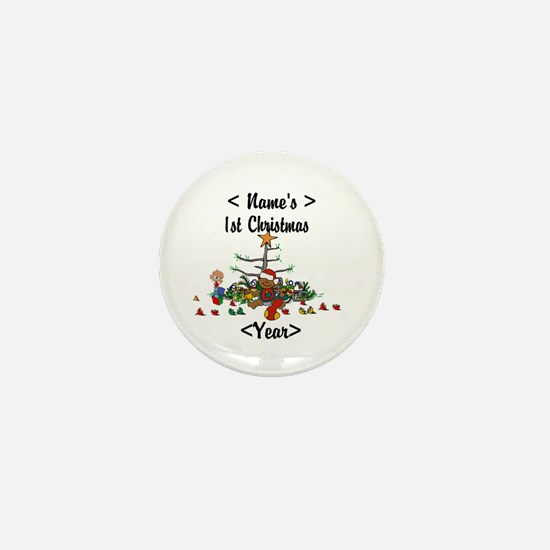 Personalized 1st Christmas Mini Button