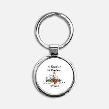 Personalized 1st Christmas Round Keychain