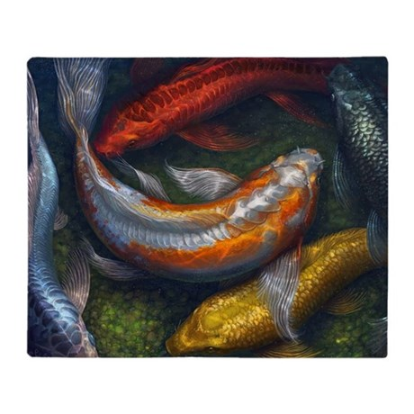 Rainbow koi pond throw blanket by ruykia for Rainbow koi fish
