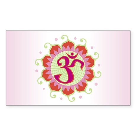 Lotus Aum Pink/Red - Rectangle Sticker