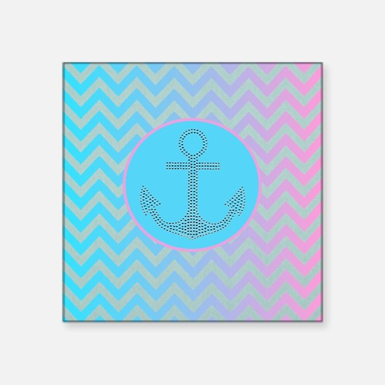 """teal pink anchor ombre zigz Square Sticker 3"""" x 3"""""""