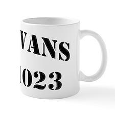 evans black letters Mug