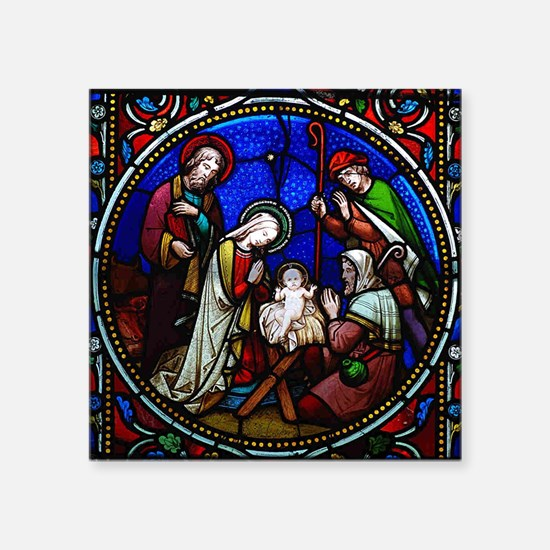 """Stained Glass Nativity Square Sticker 3"""" x 3"""""""