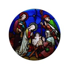 """Stained Glass Nativity 3.5"""" Button"""