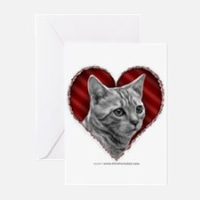 Bengal Cat Heart Greeting Cards (Pk of 10)