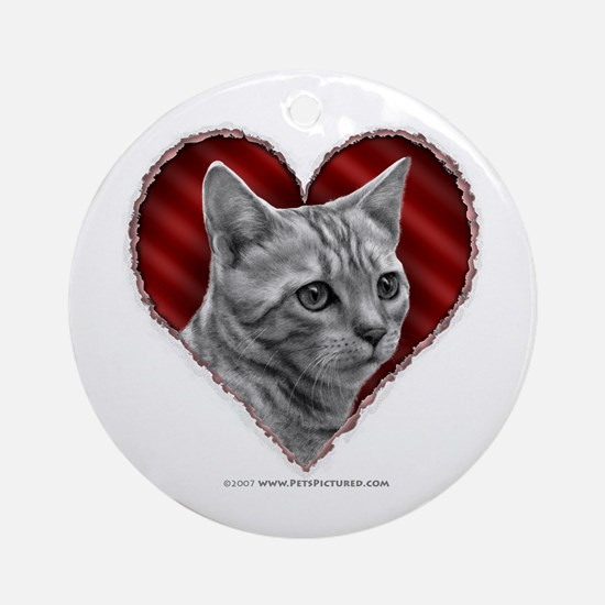 Bengal Cat Heart Ornament (Round)