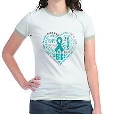 Ovarian Cancer Heart Words T