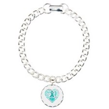 Ovarian Cancer Heart Words Charm Bracelet, One Cha