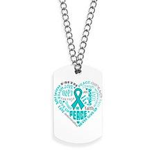Ovarian Cancer Heart Words Dog Tags