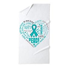 Ovarian Cancer Heart Words Beach Towel