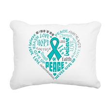 Ovarian Cancer Heart Words Rectangular Canvas Pill
