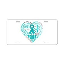 Ovarian Cancer Heart Words Aluminum License Plate