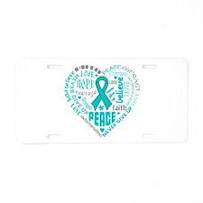 Ovarian Cancer Heart Words Aluminum License Plate