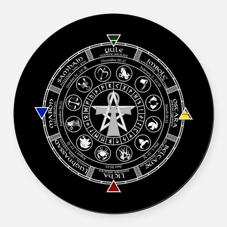Wheel of the Year Zodiac Sabbats Round Car Magnet