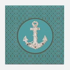 nautical anchor teal damask beach dec Tile Coaster