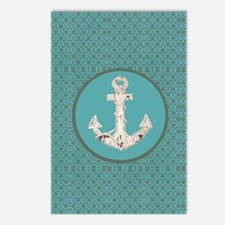 nautical anchor teal dama Postcards (Package of 8)