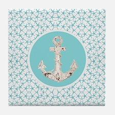 nautical starfish blue anchor beach d Tile Coaster