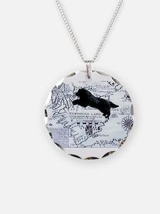 Newfoundland dog Map Necklace