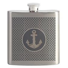 modern anchor nautical geometric pattern Flask