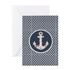 modern anchor nautical geometric pat Greeting Card