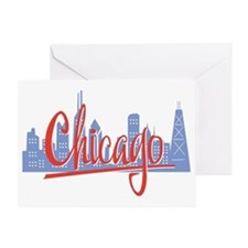 Chicago Red Script On Dark Greeting Card