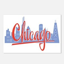 Chicago Red Script On Dar Postcards (Package of 8)