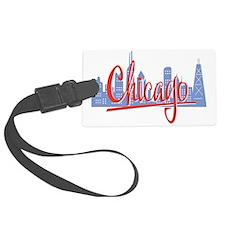 Chicago Red Script On Dark Luggage Tag